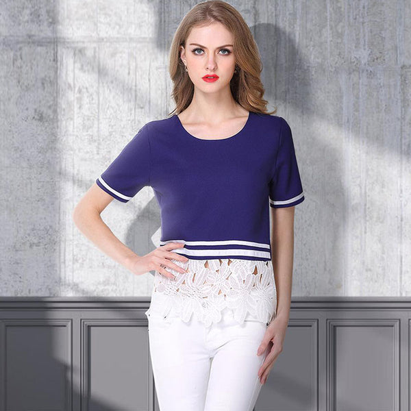 Lace patchwork striped casual tees