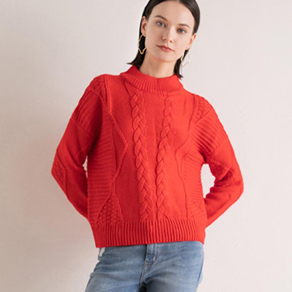 Mock neck cable-knit sweaters