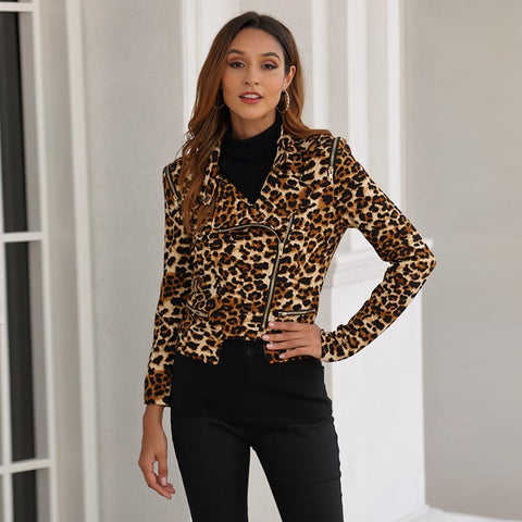 Turn-down collar leopard slim jackets