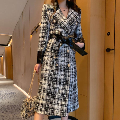 Plaid double breast belted coats