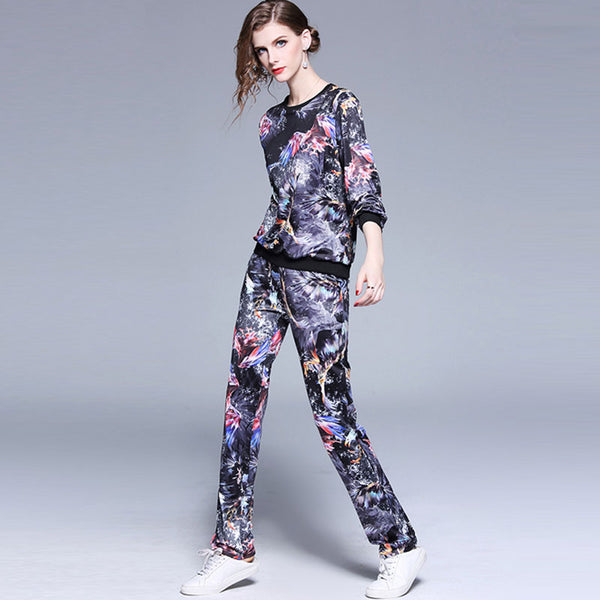 Pullover slim print long pant suits - Fancyever