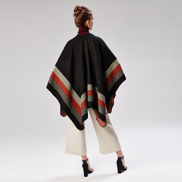 Striped colorblock shawls ponchos