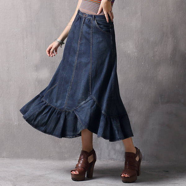High waist falbala denim skirts - Fancyever