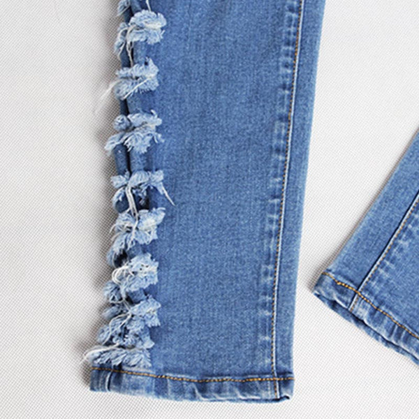 Denim elastic ripped skinny jean pants