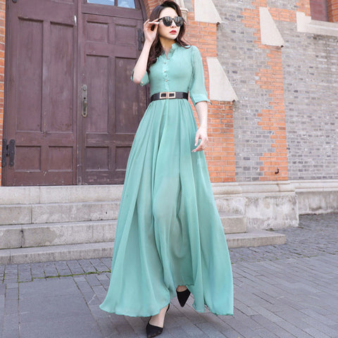 Mock neck 3/4 sleeve chiffon dresses