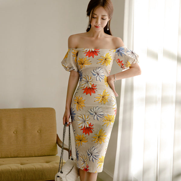 Print off-the-shoulder sheath dresses