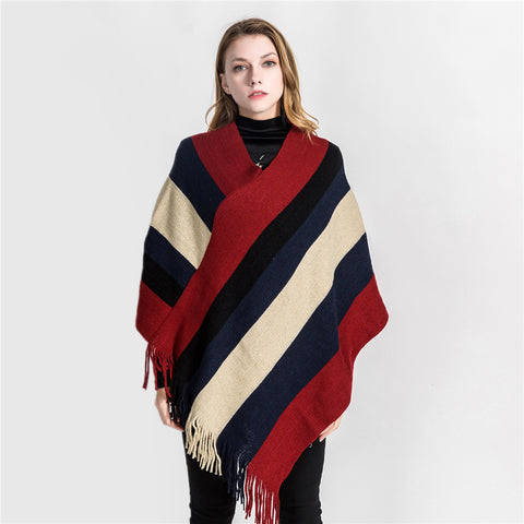 Striped color-blocked tassel ponchos
