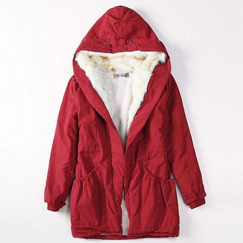 Hooded sherpa-lined drawcord coats