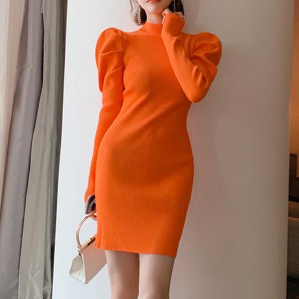 Puff sleeve bodycon mini sweater dresses