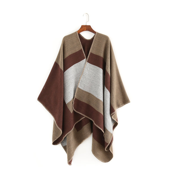 Striped colorblock elegant shawls scarves