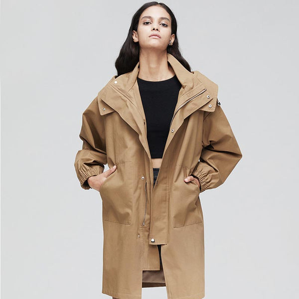 Hooded loose trench coats with pockets - Fancyever