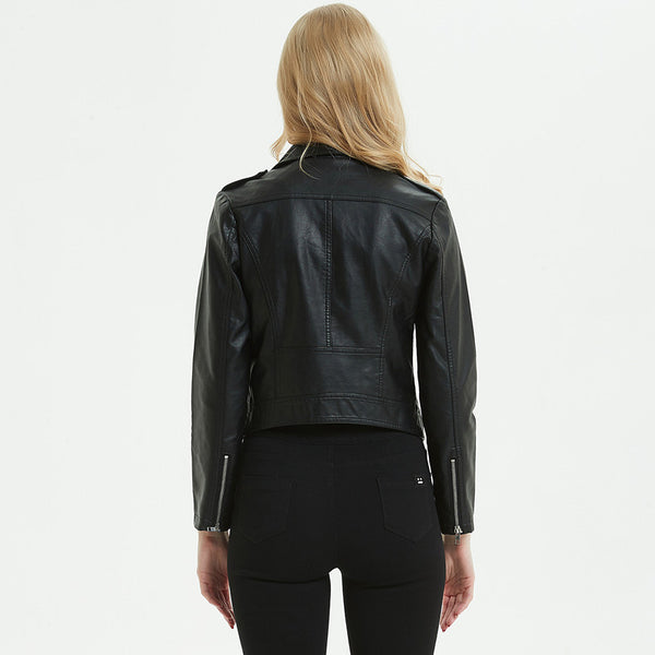 Turn-down collar zipper faux leather jackets