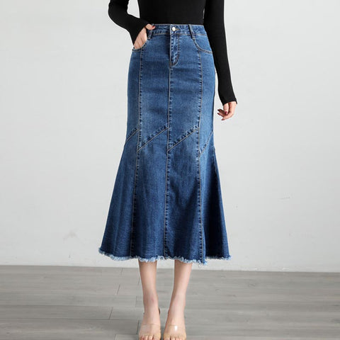 High waisted rough selvage denim skirts
