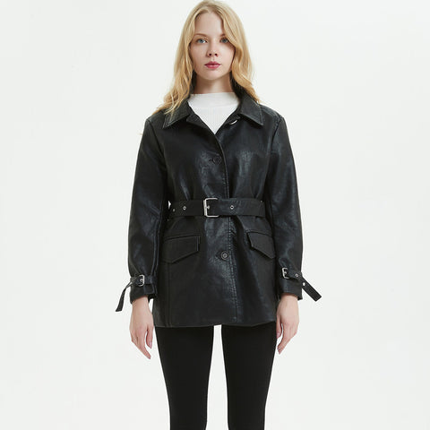 Single-breasted lapel belted leather coats