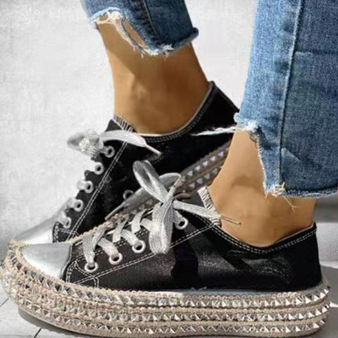 Leopard rivet platform lace-up shoes