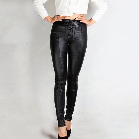 Faux leather tied skinny pants
