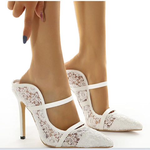 Pointed toe lace high heel slippers