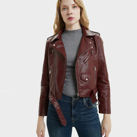 Belted faux leather biker jackets - Fancyever