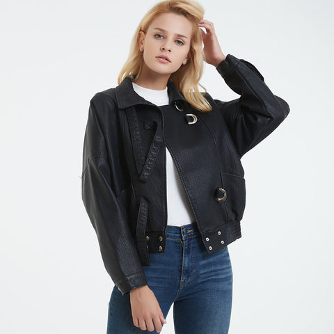 Faux leather loose jackets with pockets - Fancyever