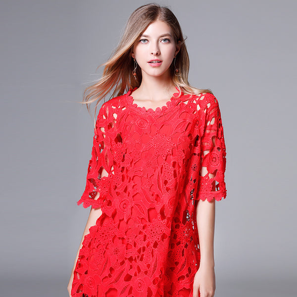Lace openwork shift dresses with camisoles