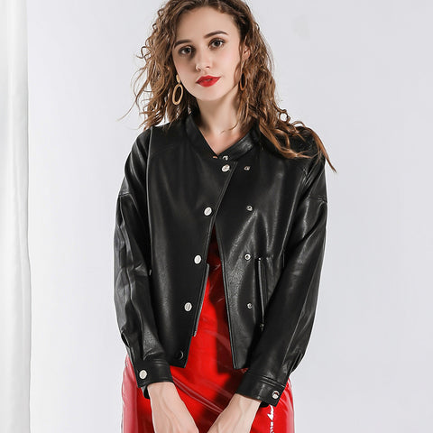 Crew neck button-front faux leather jackets - Fancyever
