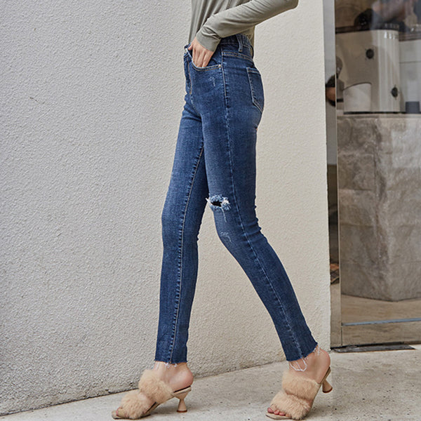 Rough selvedge elastic pencil jeans - Fancyever