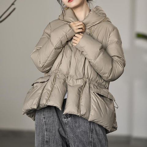 Hooded solid thick elastic waisted down coats