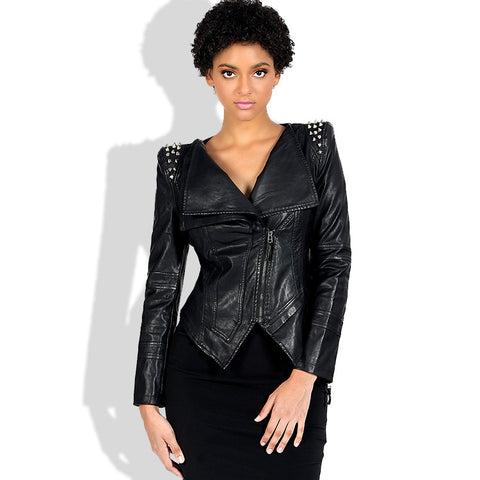 Rivet slim faux leather biker jackets - Fancyever