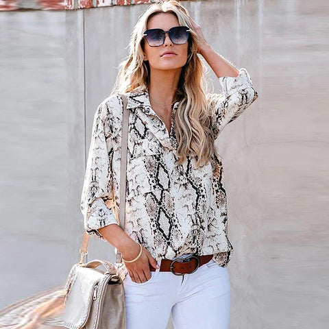 Turn down collar printed leopard shirts
