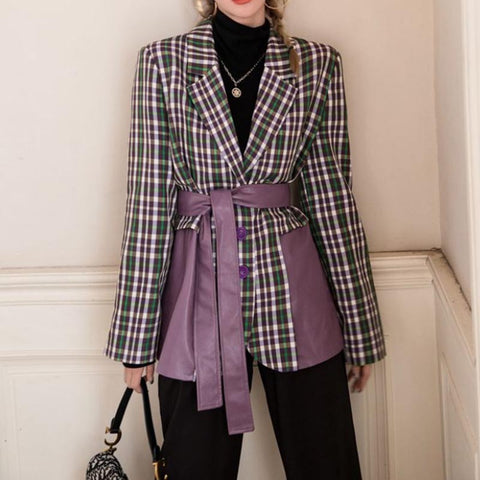 Plaid patchwork pu slim blazers