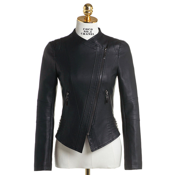 Mock neck zipper biker faux lether jackets - Fancyever