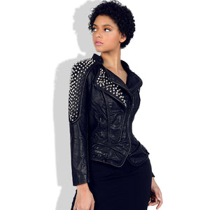 Faux leather rivet moto jackets - Fancyever