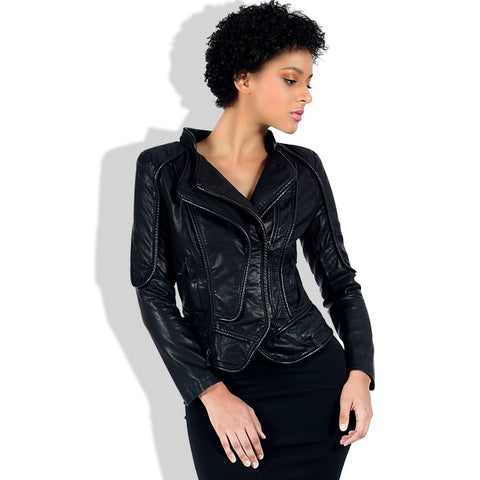 Turn-down collar slim faux leather jackets