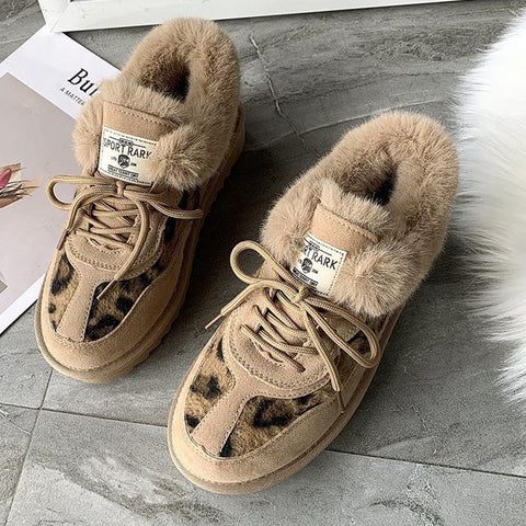 Leopard patchwork stylish winter boots