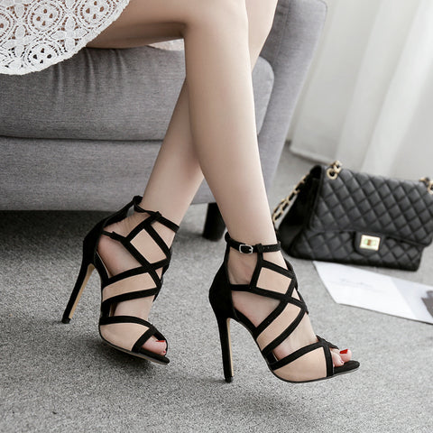 Peep toe patchwork ankle-strap sandals