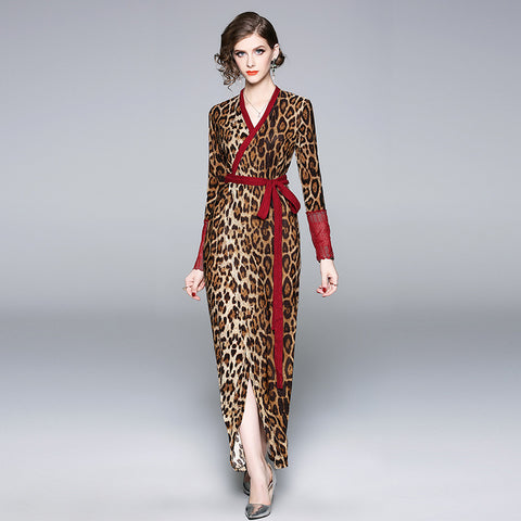 Wrap v-neck leopard long dresses - Fancyever