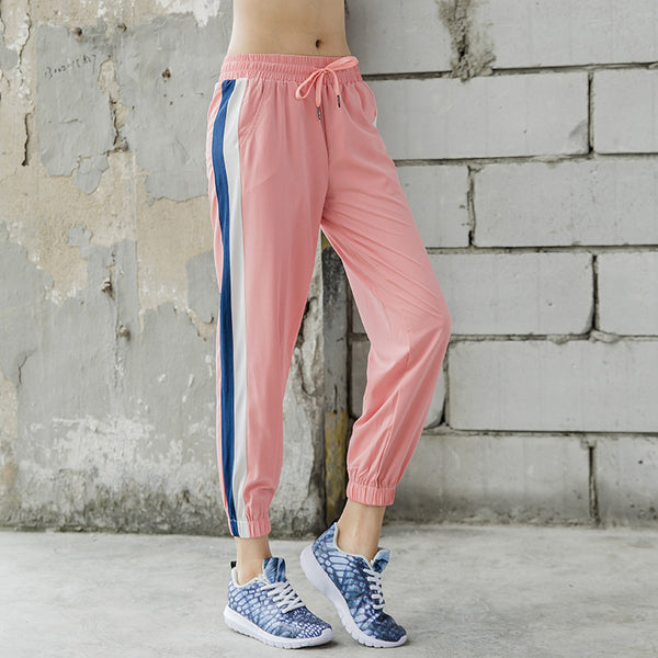 Fitness striped quick dry running joggers