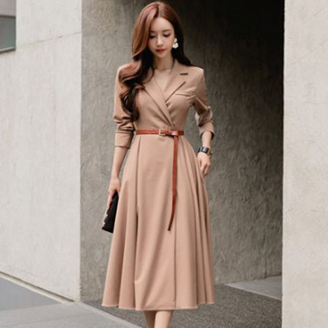 Turn-down collar belted midi dresses