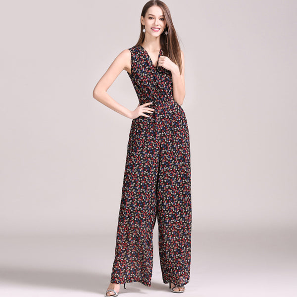 Sleeveless floral v-neck jumpsuits