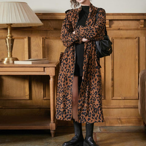 Mock neck leopard print trench coats