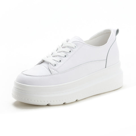 White leather hiden wedge platform trainers