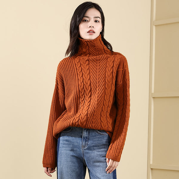 Turtleneck cable-knit loose sweaters