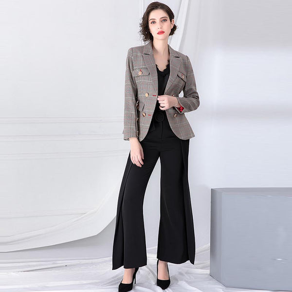 Plaid double-breasted belted blazers - Fancyever