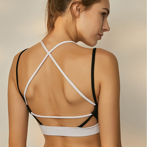 Color blocked backless sports bras