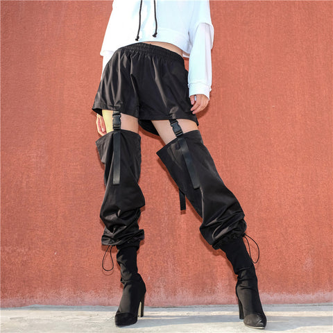 High waisted long patchwork cargo pants