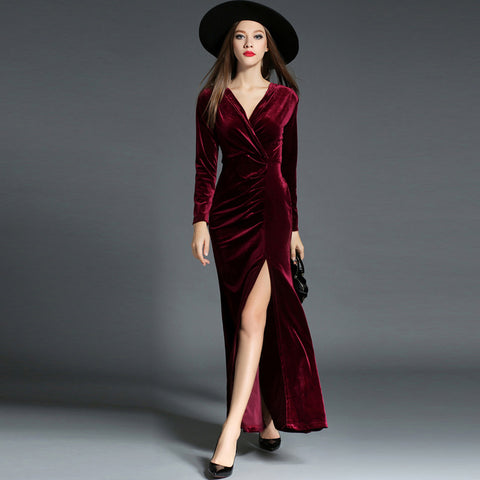Elegant v-neck boutique evening dress - Fancyever