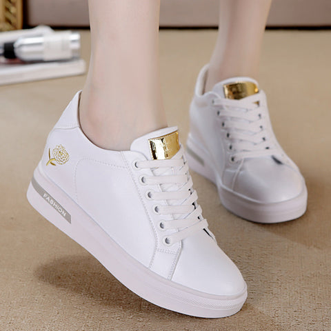 Lace-up hidden wedge sneakers