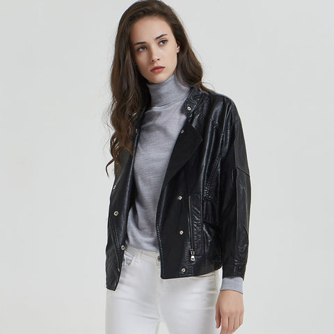 Stand collar faux leather moto jackets
