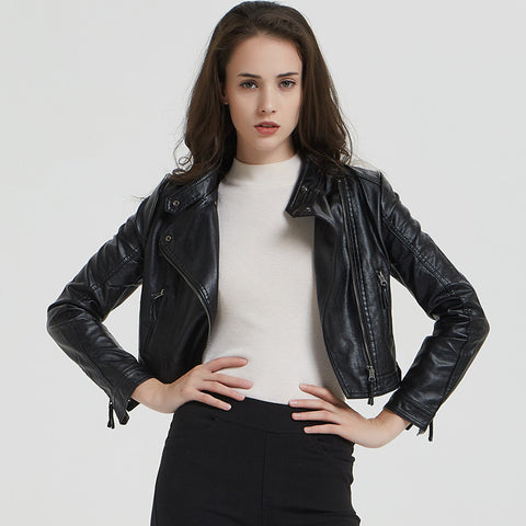 Stand collar cropped biker jackets