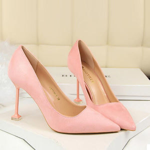 Faux-suede pointed toe heels court shoes